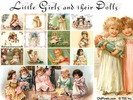 12 Vintage Clip Art Illustrations of Little Girls & Dolls