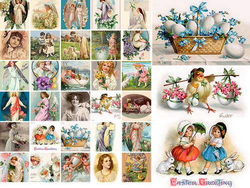 Product picture 30 Vintage Easter Illustrations