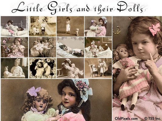 Product picture 12 Vintage Clip Art Photos of Little Girls and Their Dolls