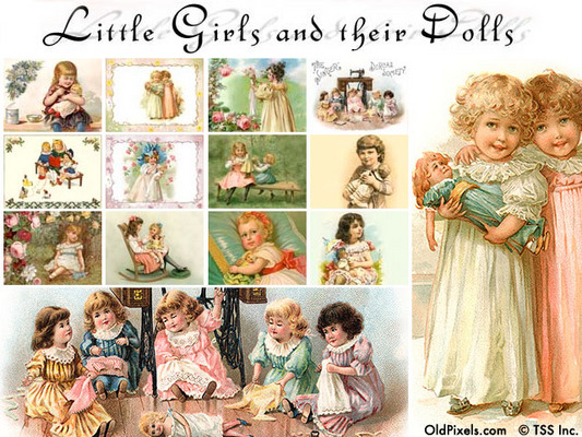 Product picture 12 Vintage Clip Art Illustrations of Little Girls & Dolls