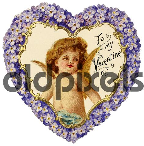Product picture Victorian Valentine with angel with a heart-shaped flower wreath